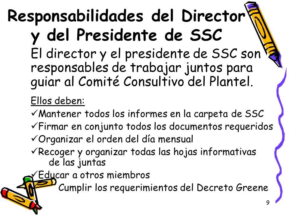 9 Responsabilidades del Director y del Presidente de SSC El director y el presidente de SSC son responsables de trabajar juntos para guiar al Comité C