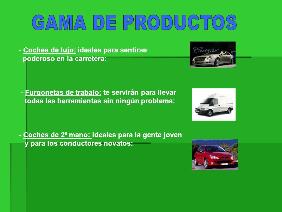 - Ofrecemos el servicio de venta de automóviles, además de todo tipo de accesorios.