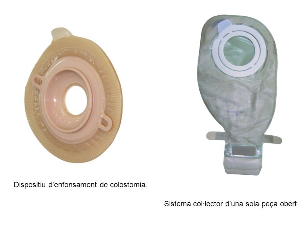 Dispositiu denfonsament de colostomia. Sistema col·lector duna sola peça obert