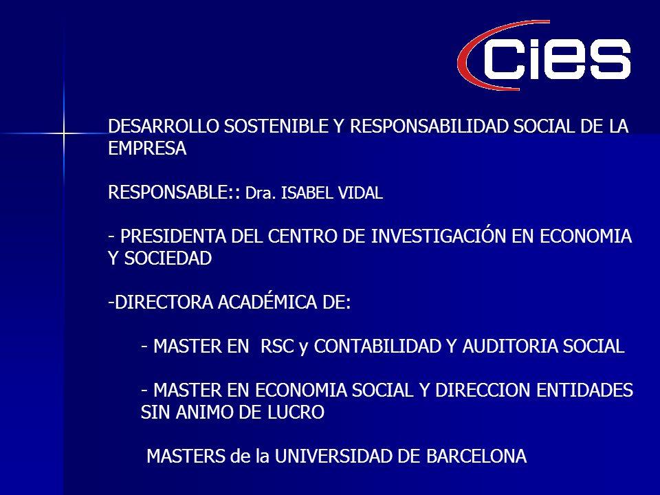 DESARROLLO SOSTENIBLE Y RESPONSABILIDAD SOCIAL DE LA EMPRESA RESPONSABLE:: Dra.