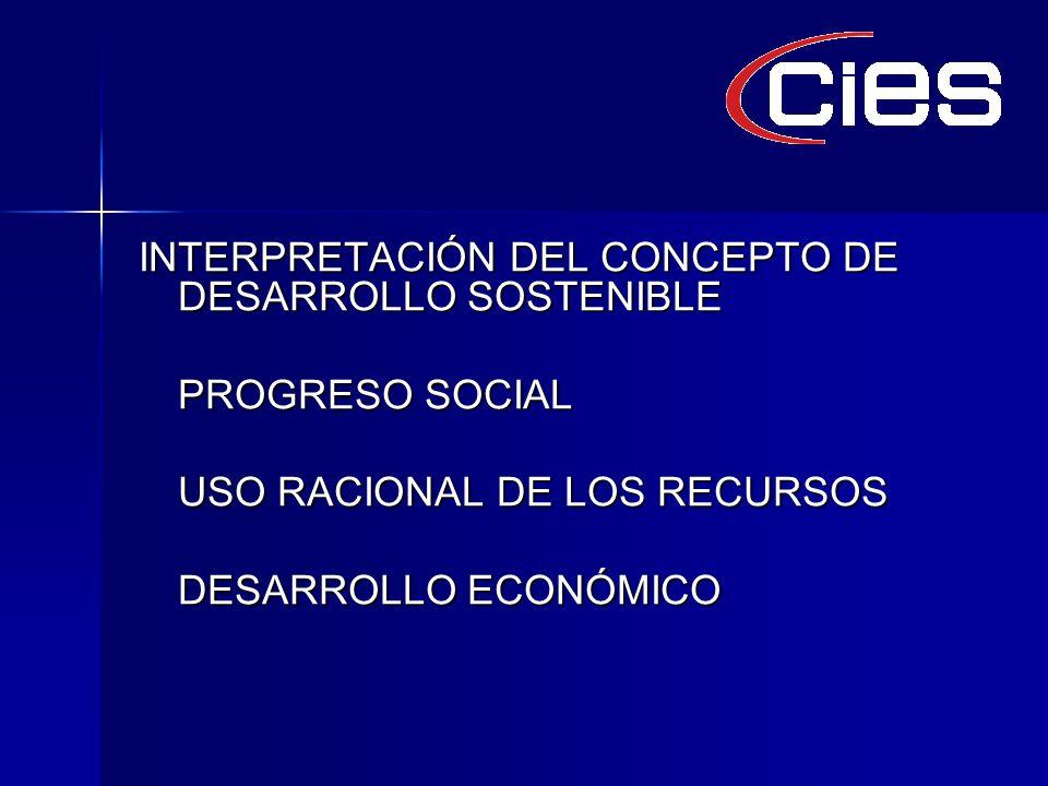 INTERPRETACIÓN DEL CONCEPTO DE DESARROLLO SOSTENIBLE PROGRESO SOCIAL USO RACIONAL DE LOS RECURSOS DESARROLLO ECONÓMICO