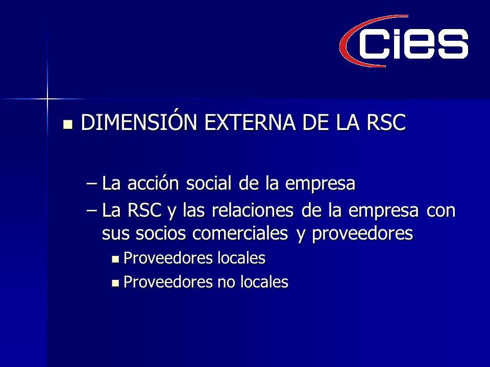 DIMENSIÓN EXTERNA DE LA RSC DIMENSIÓN EXTERNA DE LA RSC –La acción social de la empresa –La RSC y las relaciones de la empresa con sus socios comerciales y proveedores Proveedores locales Proveedores locales Proveedores no locales Proveedores no locales