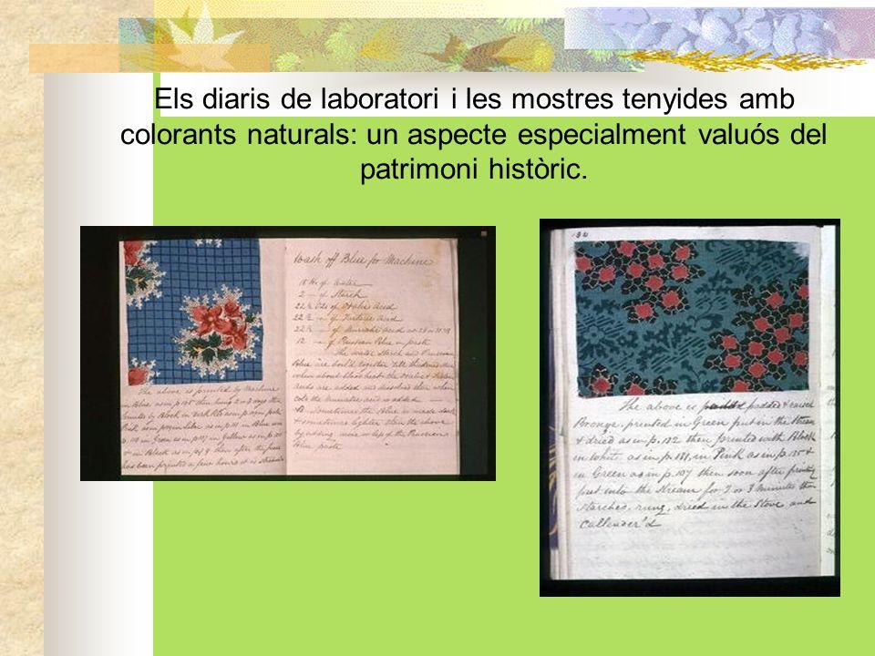Els diaris de laboratori i les mostres tenyides amb colorants naturals: un aspecte especialment valuós del patrimoni històric.
