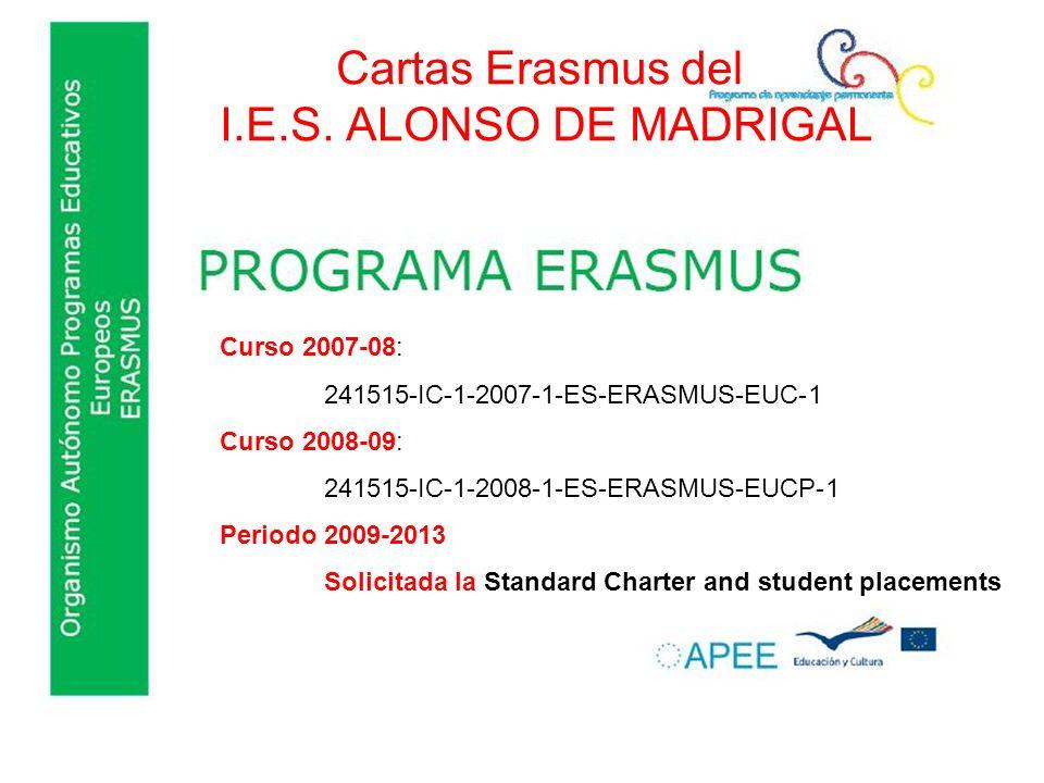Cartas Erasmus del I.E.S. ALONSO DE MADRIGAL Curso 2007-08: 241515-IC-1-2007-1-ES-ERASMUS-EUC-1 Curso 2008-09: 241515-IC-1-2008-1-ES-ERASMUS-EUCP-1 Pe