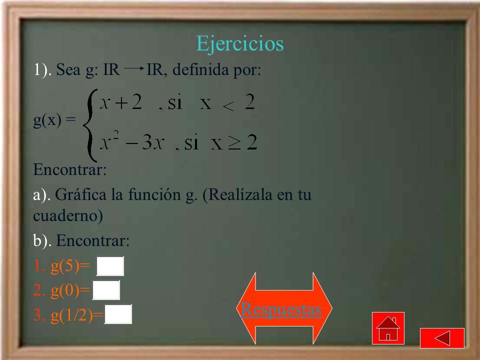 Ejercicios 1). Sea g: IR IR, definida por: g(x) = Encontrar: a). Gráfica la función g. (Realízala en tu cuaderno) b). Encontrar: 1. g(5)= 2. g(0)= 3.