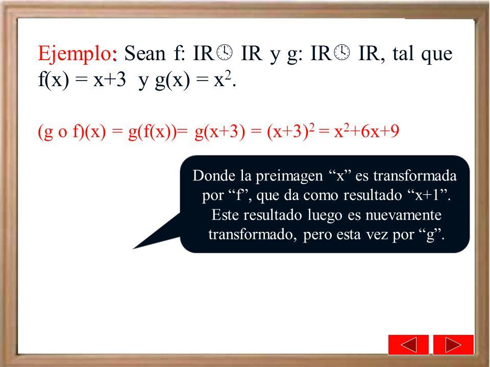 : Ejemplo: Sean f: IR IR y g: IR IR, tal que f(x) = x+3 y g(x) = x 2. (g o f)(x) = g(f(x))= g(x+3) = (x+3) 2 = x 2 +6x+9 Donde la preimagen x es trans