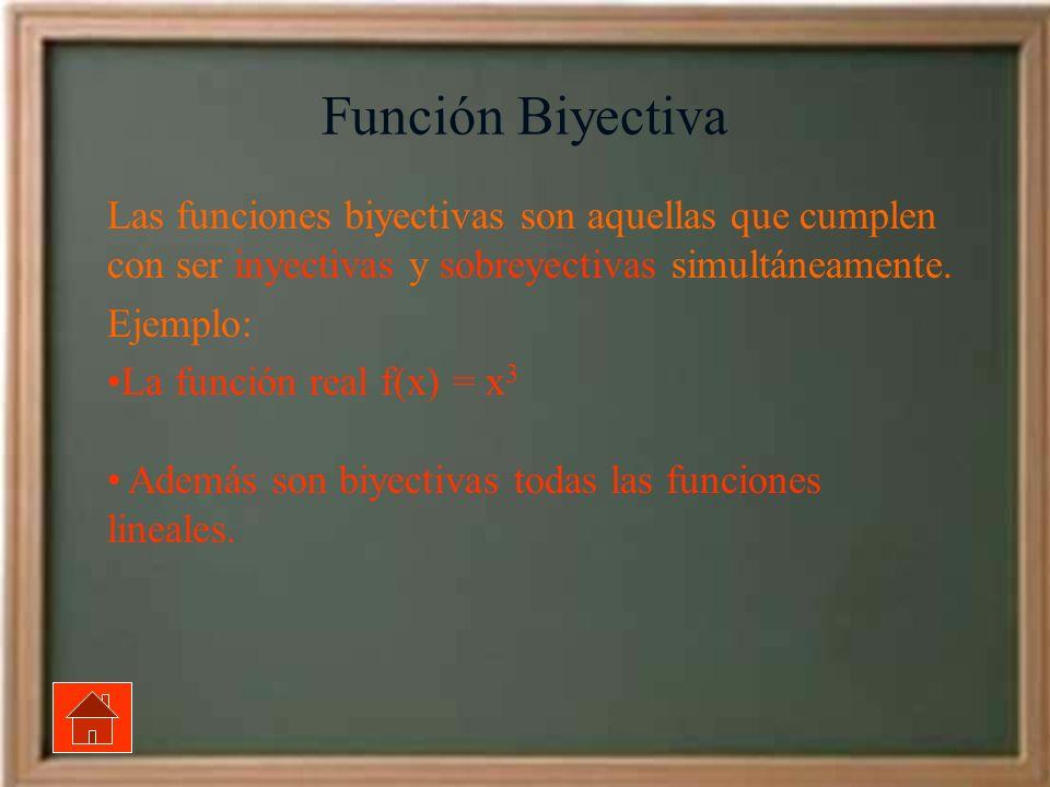 Función Biyectiva Las funciones biyectivas son aquellas que cumplen con ser inyectivas y sobreyectivas simultáneamente. Ejemplo: La función real f(x)