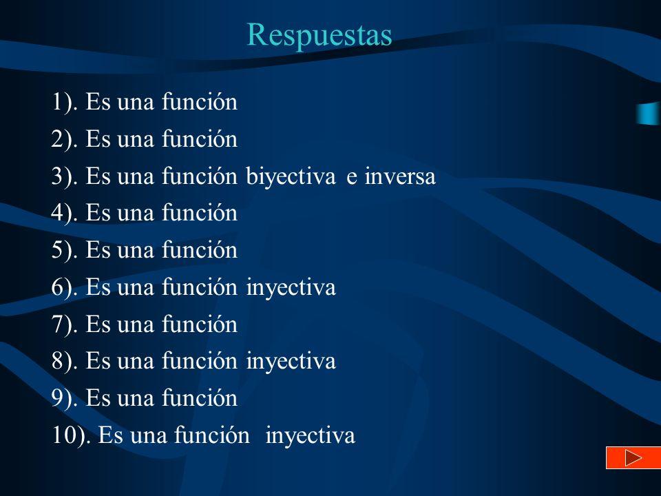 Respuestas 1). Es una función 2). Es una función 3). Es una función biyectiva e inversa 4). Es una función 5). Es una función 6). Es una función inyec