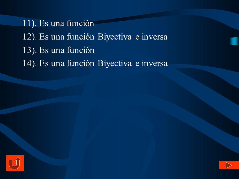 11). Es una función 12). Es una función Biyectiva e inversa 13). Es una función 14). Es una función Biyectiva e inversa
