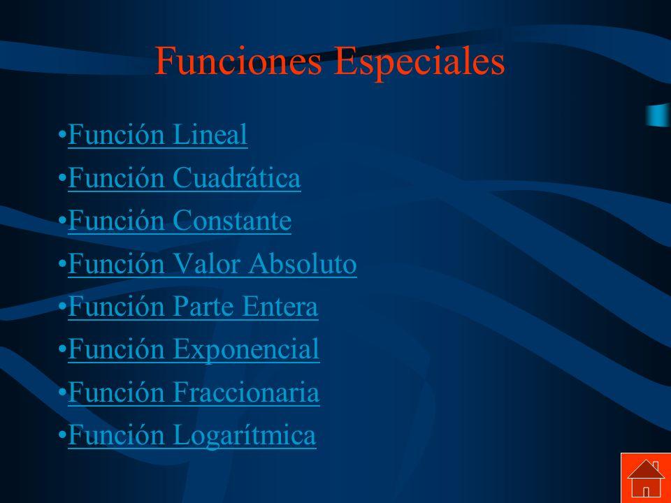 Funciones Especiales Función Lineal Función Cuadrática Función Constante Función Valor Absoluto Función Parte Entera Función Exponencial Función Fracc
