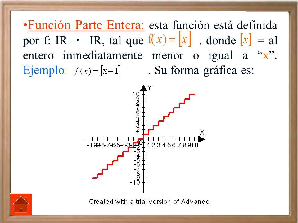 Función Parte Entera: esta función está definida por f: IR IR, tal que, donde = al entero inmediatamente menor o igual a x. Ejemplo: f(x) = x+1. Su fo