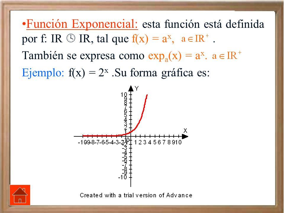 Función Exponencial: esta función está definida por f: IR IR, tal que f(x) = a x,. También se expresa como exp a (x) = a x. Ejemplo: f(x) = 2 x.Su for