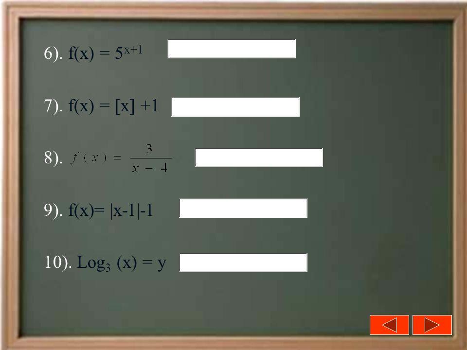 6). f(x) = 5 x+1 7). f(x) = [x] +1 8). 9). f(x)= |x-1|-1 10). Log 3 (x) = y