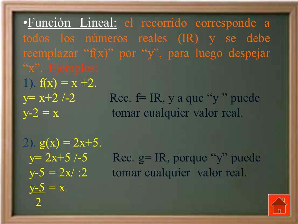Función Lineal: el recorrido corresponde a todos los números reales (IR) y se debe reemplazar f(x) por y, para luego despejar x. Ejemplos: 1). f(x) =