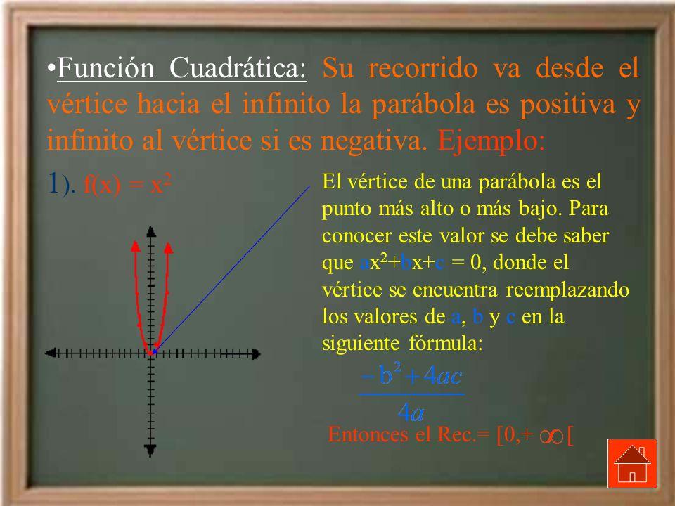 Función Cuadrática: Su recorrido va desde el vértice hacia el infinito la parábola es positiva y infinito al vértice si es negativa. Ejemplo: 1 ). f(x