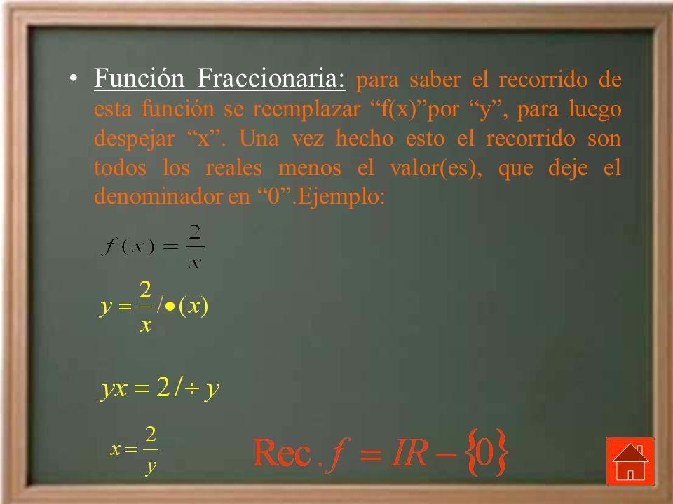 Función Fraccionaria: para saber el recorrido de esta función se reemplazar f(x)por y, para luego despejar x. Una vez hecho esto el recorrido son todo