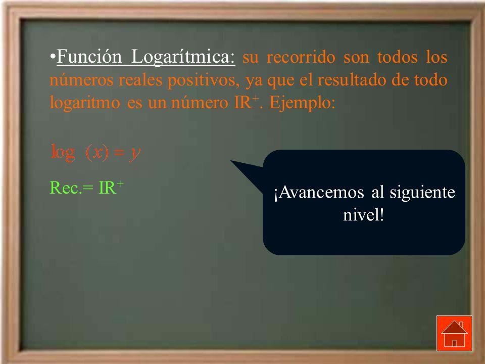 Función Logarítmica: su recorrido son todos los números reales positivos, ya que el resultado de todo logaritmo es un número IR +. Ejemplo: Rec.= IR +