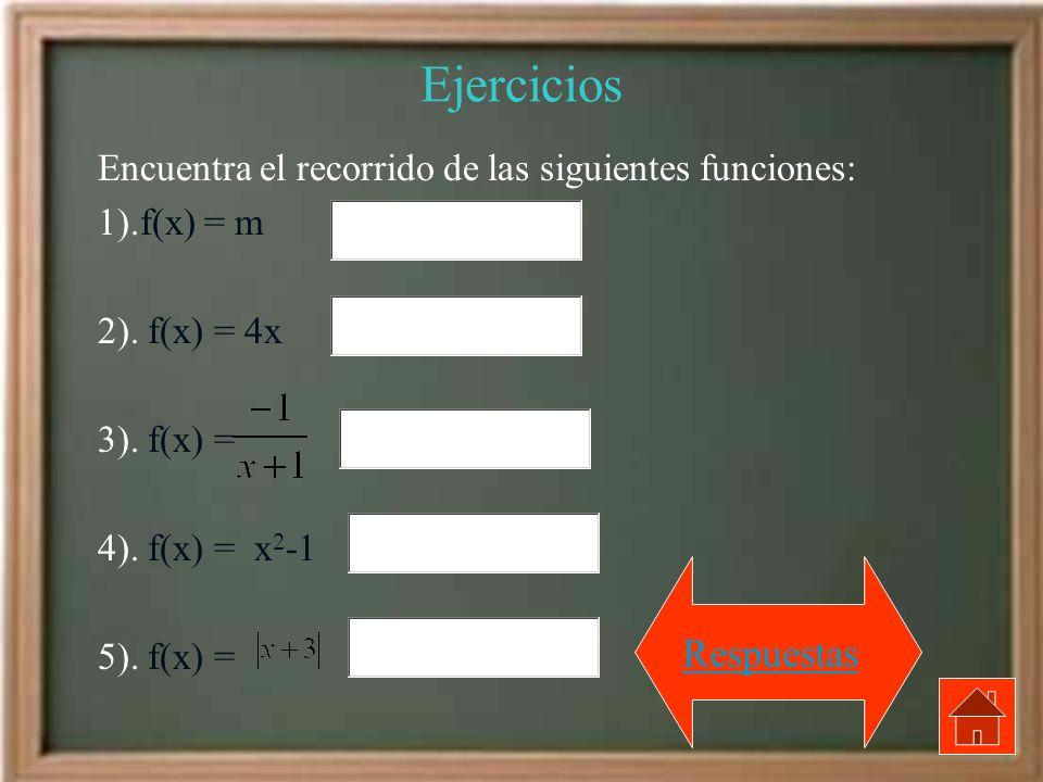 Ejercicios Encuentra el recorrido de las siguientes funciones: 1).f(x) = m 2). f(x) = 4x 3). f(x) = 4). f(x) = x 2 -1 5). f(x) = Respuestas