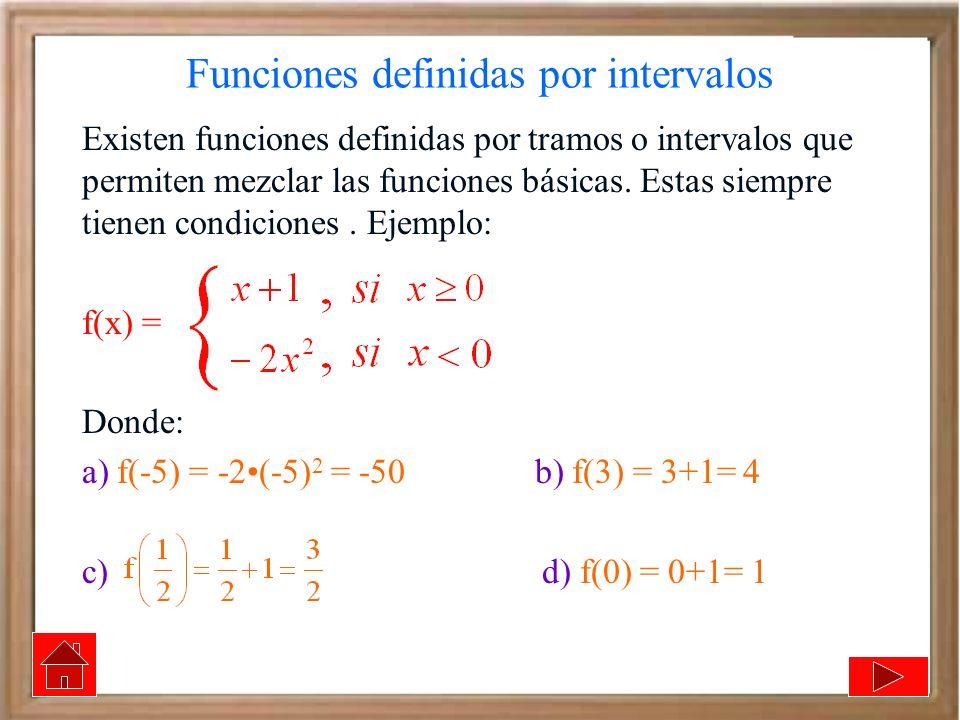 Funciones definidas por intervalos Existen funciones definidas por tramos o intervalos que permiten mezclar las funciones básicas. Estas siempre tiene