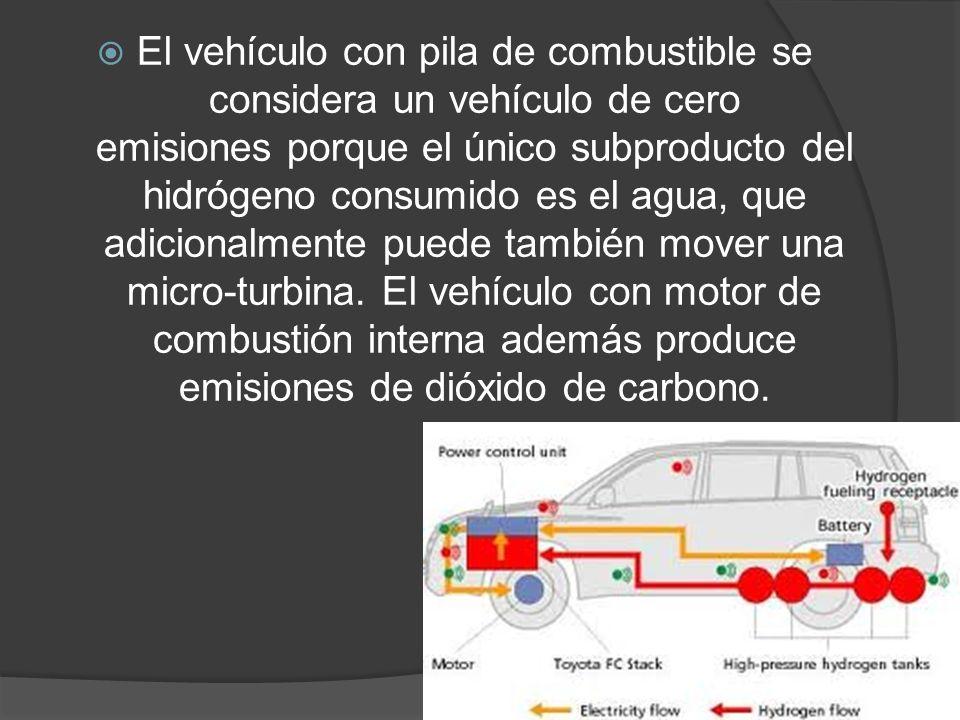 El vehículo con pila de combustible se considera un vehículo de cero emisiones porque el único subproducto del hidrógeno consumido es el agua, que adi