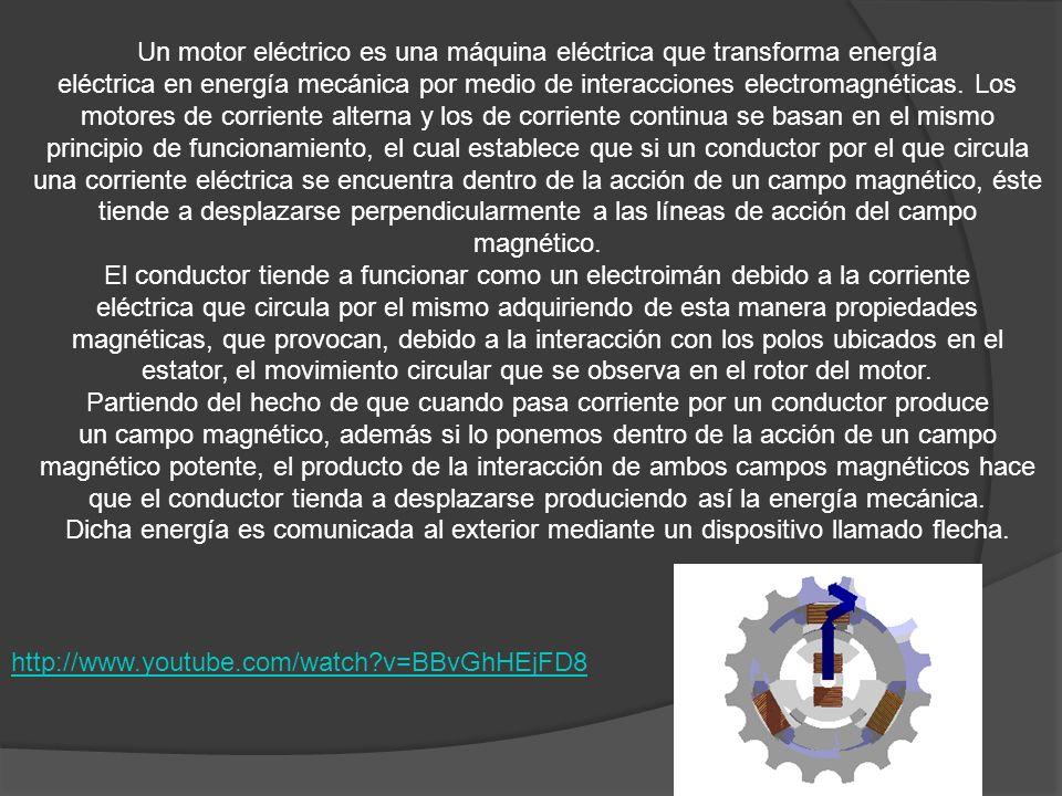http://www.youtube.com/watch?v=BBvGhHEjFD8 Un motor eléctrico es una máquina eléctrica que transforma energía eléctrica en energía mecánica por medio