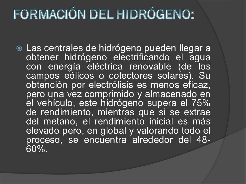 Las centrales de hidrógeno pueden llegar a obtener hidrógeno electrificando el agua con energía eléctrica renovable (de los campos eólicos o colectore
