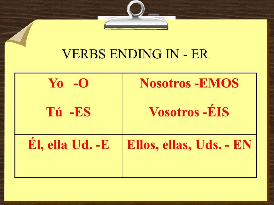 VERBS ENDING IN - ER Yo -ONosotros -EMOS Tú -ESVosotros -ÉIS Él, ella Ud. -EEllos, ellas, Uds. - EN