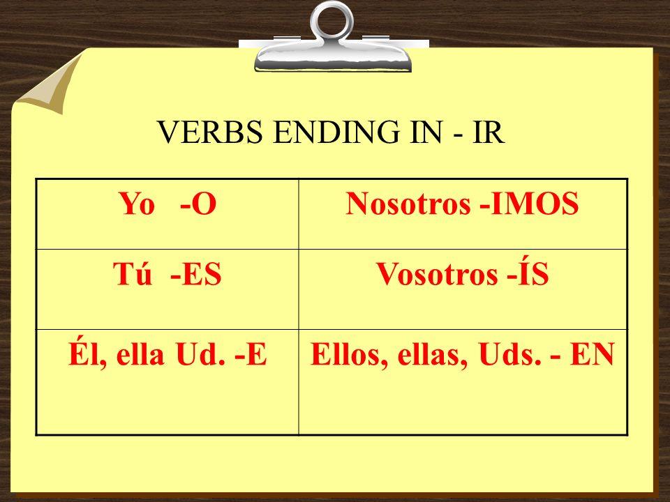 VERBS ENDING IN - IR Yo -ONosotros -IMOS Tú -ESVosotros -ÍS Él, ella Ud. -EEllos, ellas, Uds. - EN