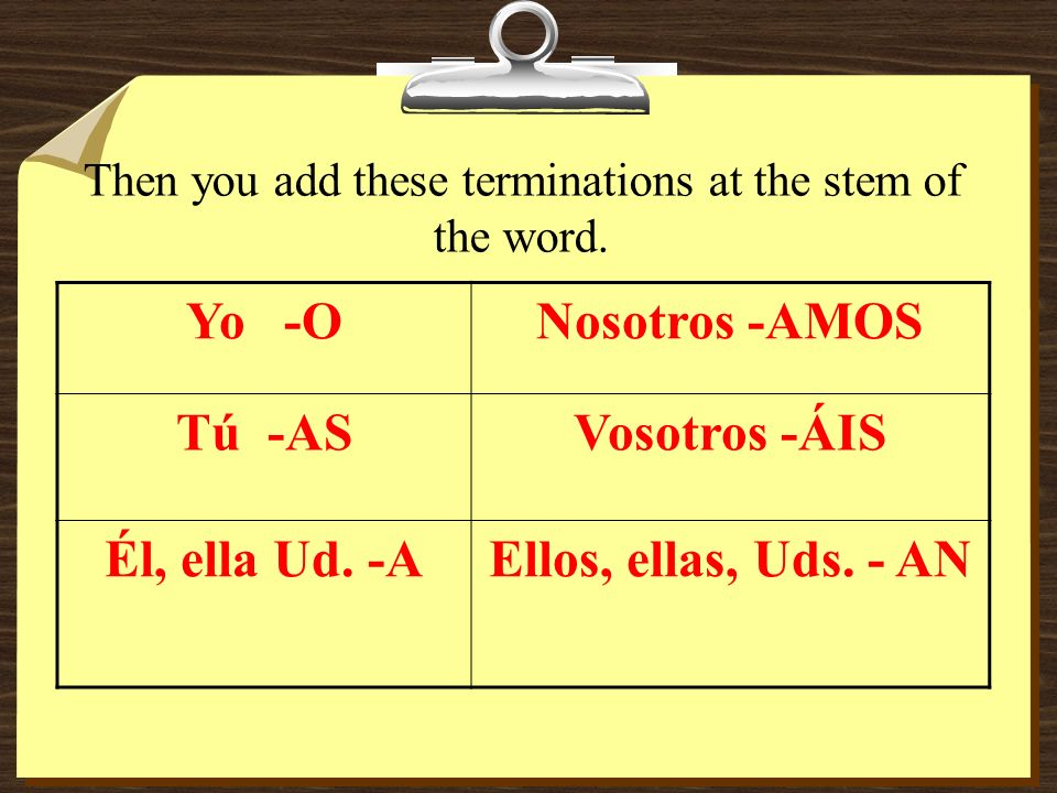 Then you add these terminations at the stem of the word.