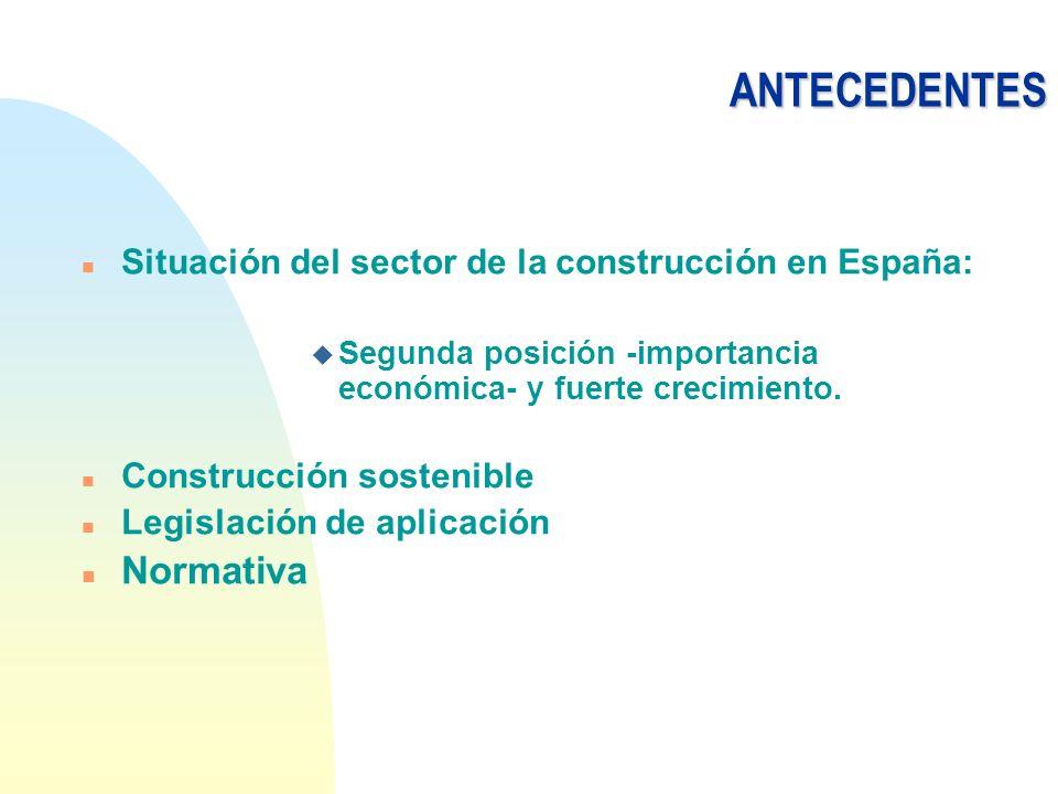 ANTECEDENTES n Situación del sector de la construcción en España: u Segunda posición -importancia económica- y fuerte crecimiento. n Construcción sost