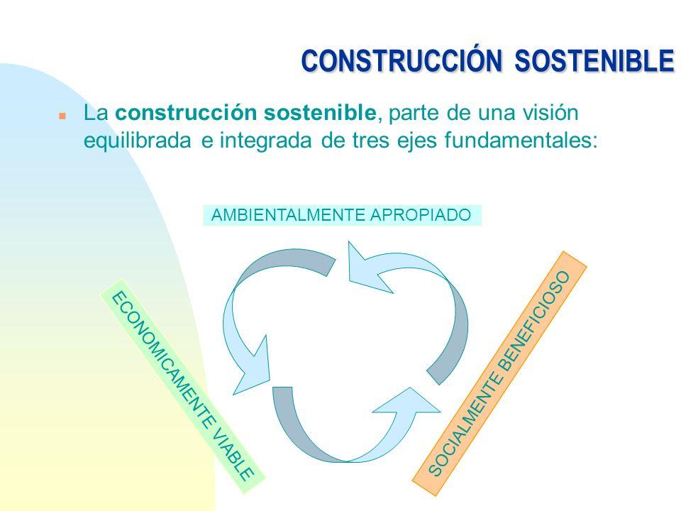 CONSTRUCCIÓNSOSTENIBLE CONSTRUCCIÓN SOSTENIBLE n La construcción sostenible, parte de una visión equilibrada e integrada de tres ejes fundamentales: A