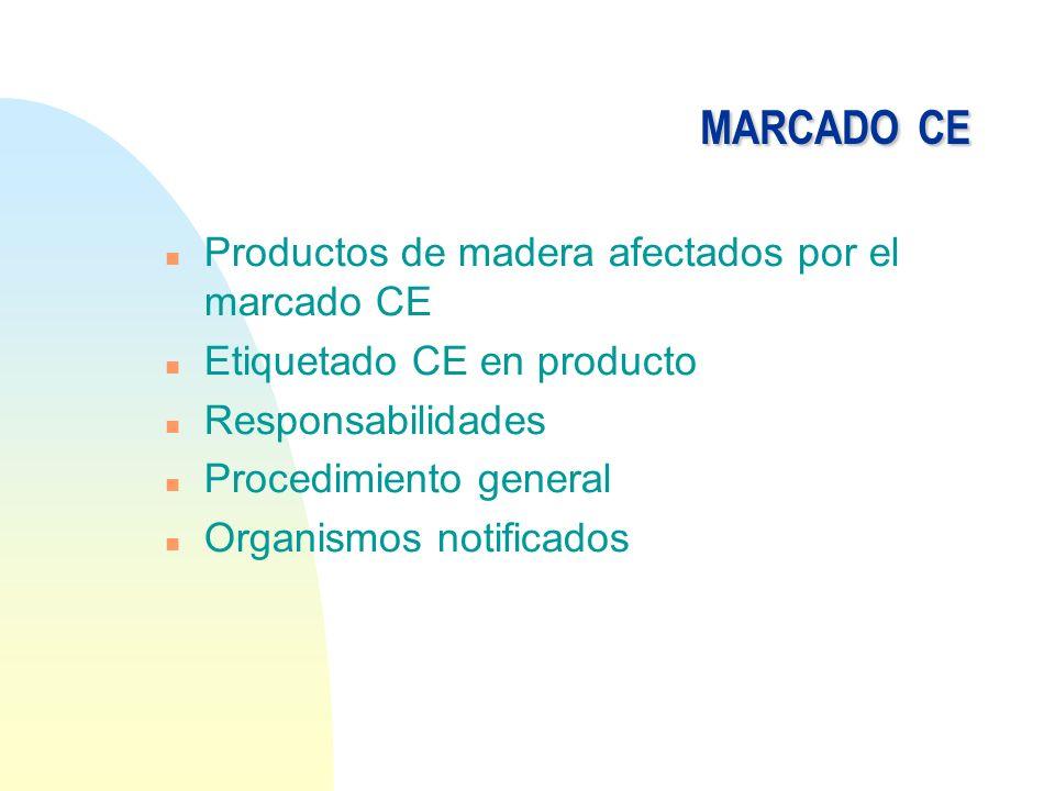 MARCADOCE MARCADO CE n Productos de madera afectados por el marcado CE n Etiquetado CE en producto n Responsabilidades n Procedimiento general n Organ