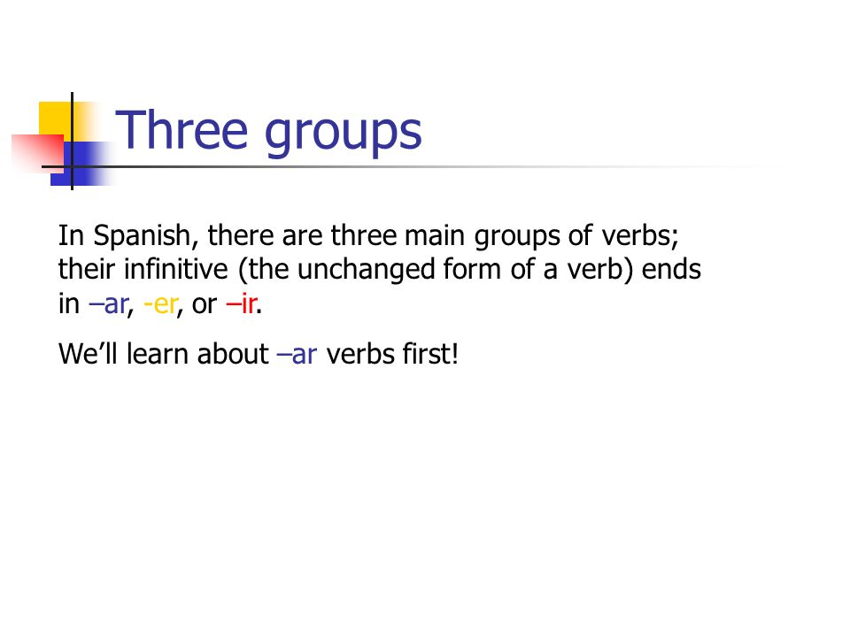 Three groups In Spanish, there are three main groups of verbs; their infinitive (the unchanged form of a verb) ends in –ar, -er, or –ir. Well learn ab