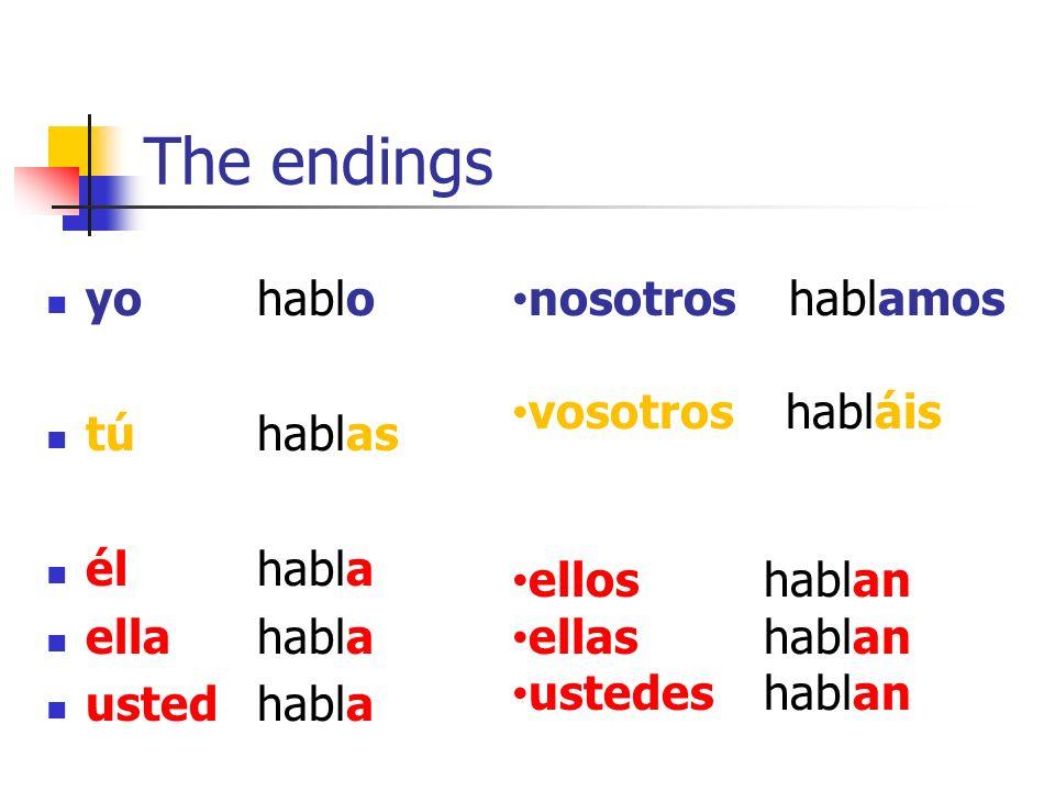 The endings yohablo túhablas élhabla ellahabla ustedhabla nosotros hablamos vosotros habláis ellos hablan ellas hablan ustedes hablan