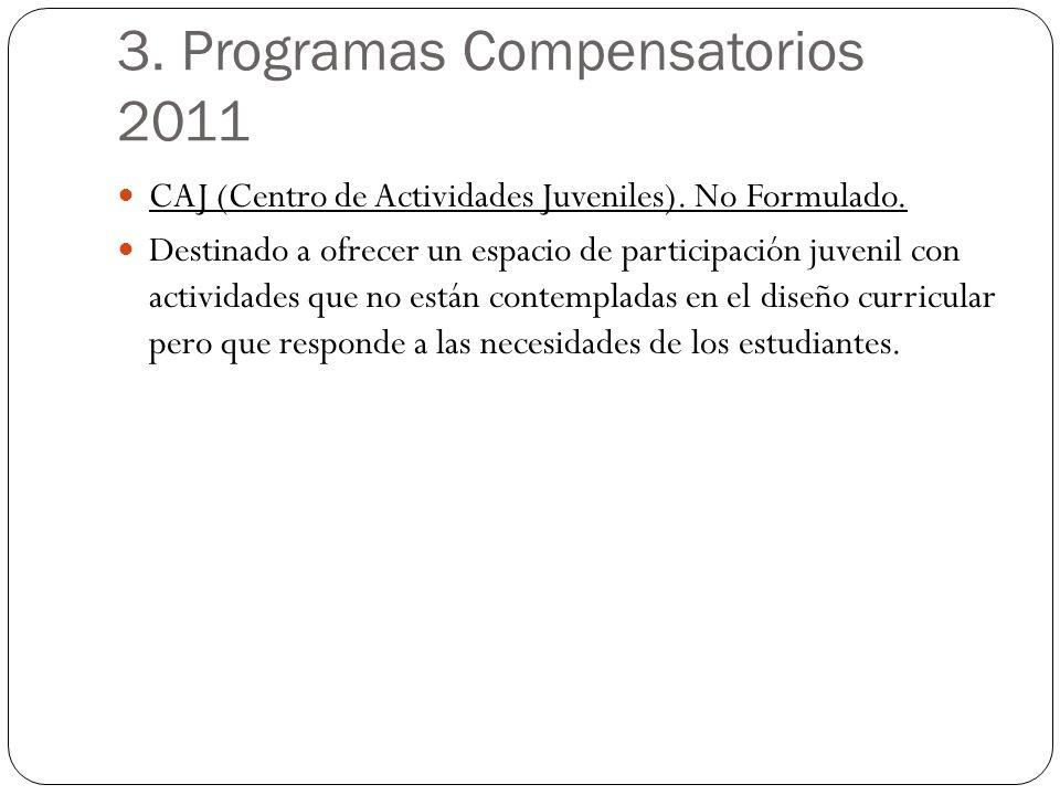 3. Programas Compensatorios 2011 CAJ (Centro de Actividades Juveniles). No Formulado. Destinado a ofrecer un espacio de participación juvenil con acti