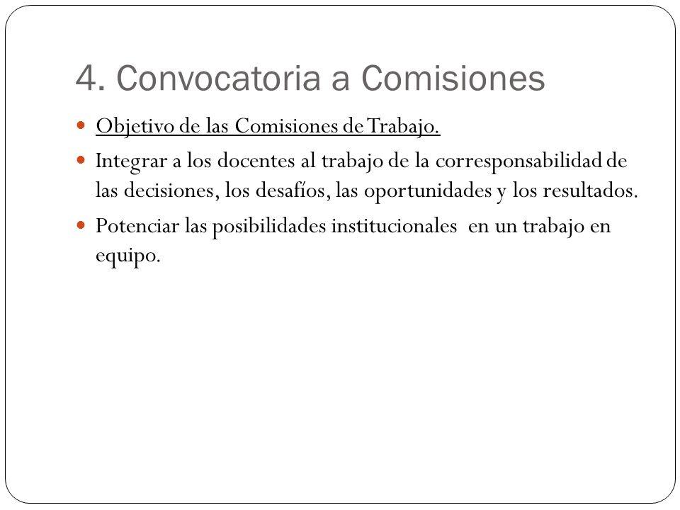 4. Convocatoria a Comisiones Objetivo de las Comisiones de Trabajo. Integrar a los docentes al trabajo de la corresponsabilidad de las decisiones, los