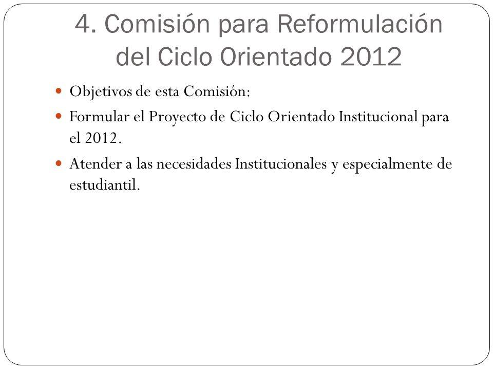 4. Comisión para Reformulación del Ciclo Orientado 2012 Objetivos de esta Comisión: Formular el Proyecto de Ciclo Orientado Institucional para el 2012