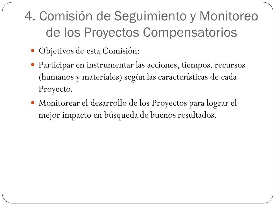 4. Comisión de Seguimiento y Monitoreo de los Proyectos Compensatorios Objetivos de esta Comisión: Participar en instrumentar las acciones, tiempos, r