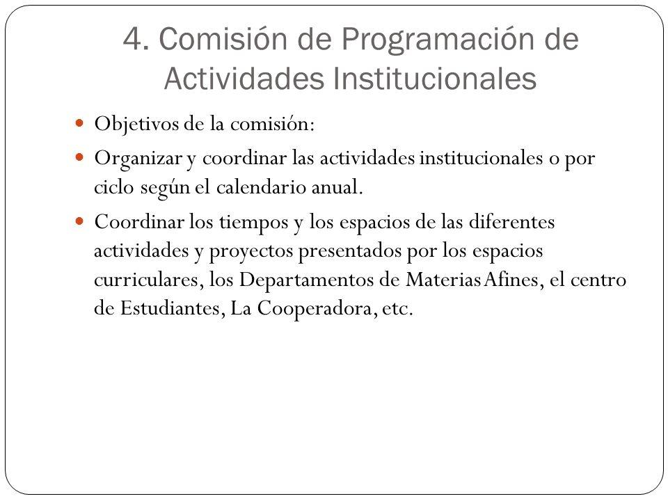 4. Comisión de Programación de Actividades Institucionales Objetivos de la comisión: Organizar y coordinar las actividades institucionales o por ciclo