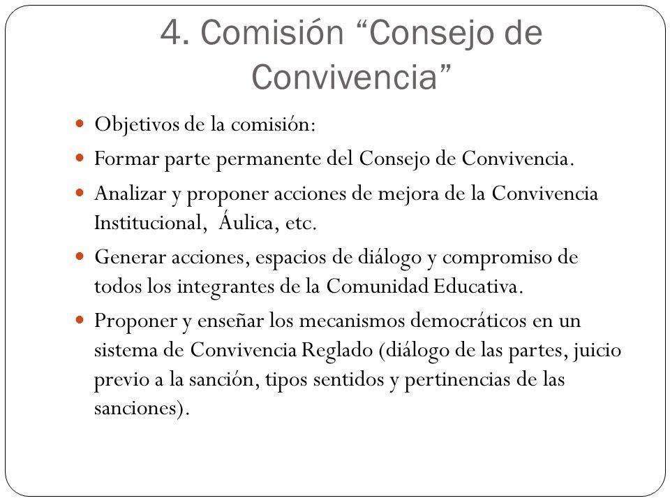 4. Comisión Consejo de Convivencia Objetivos de la comisión: Formar parte permanente del Consejo de Convivencia. Analizar y proponer acciones de mejor