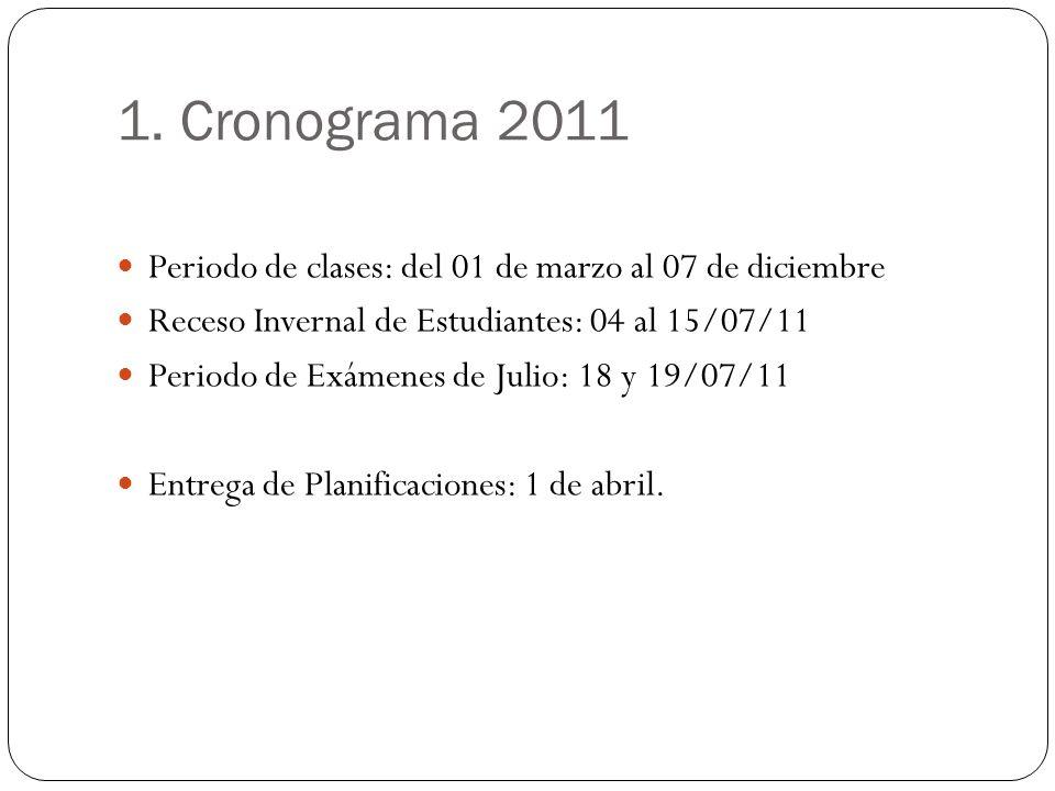 1. Cronograma 2011 Periodo de clases: del 01 de marzo al 07 de diciembre Receso Invernal de Estudiantes: 04 al 15/07/11 Periodo de Exámenes de Julio: