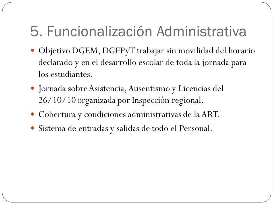 5. Funcionalización Administrativa Objetivo DGEM, DGFPyT trabajar sin movilidad del horario declarado y en el desarrollo escolar de toda la jornada pa