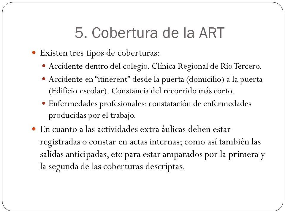 5. Cobertura de la ART Existen tres tipos de coberturas: Accidente dentro del colegio. Clínica Regional de Río Tercero. Accidente en itinerent desde l