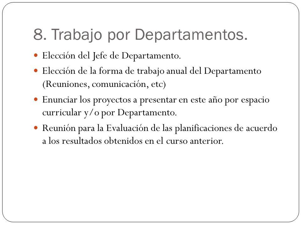 8. Trabajo por Departamentos. Elección del Jefe de Departamento. Elección de la forma de trabajo anual del Departamento (Reuniones, comunicación, etc)