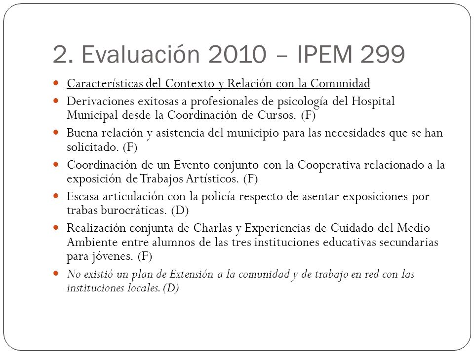 2. Evaluación 2010 – IPEM 299 Características del Contexto y Relación con la Comunidad Derivaciones exitosas a profesionales de psicología del Hospita