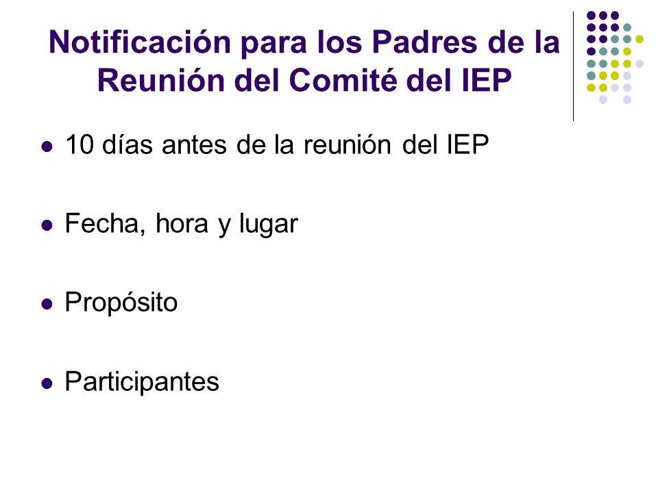 Notificación para los Padres de la Reunión del Comité del IEP 10 días antes de la reunión del IEP Fecha, hora y lugar Propósito Participantes