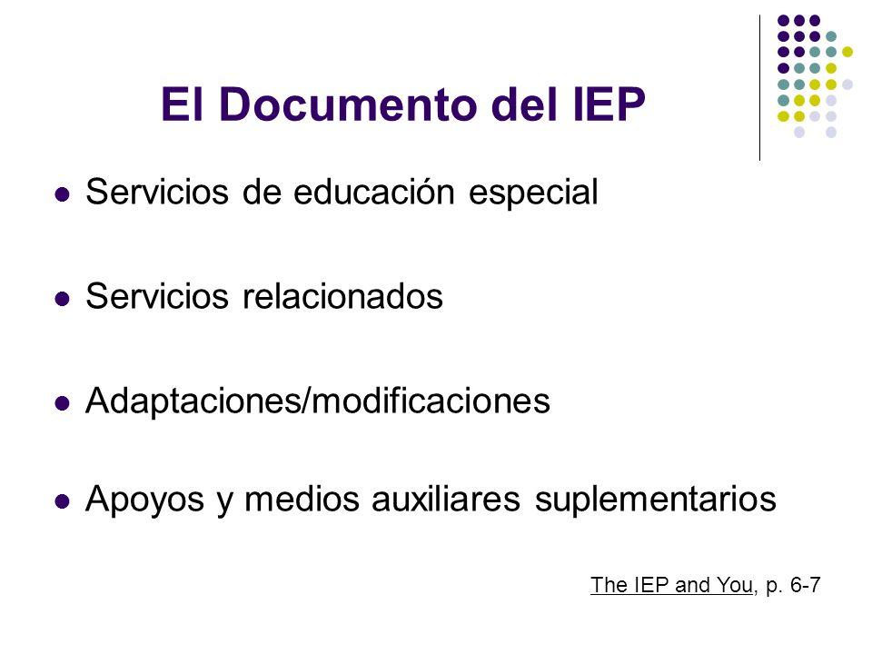 El Documento del IEP Servicios de educación especial Servicios relacionados Adaptaciones/modificaciones Apoyos y medios auxiliares suplementarios The