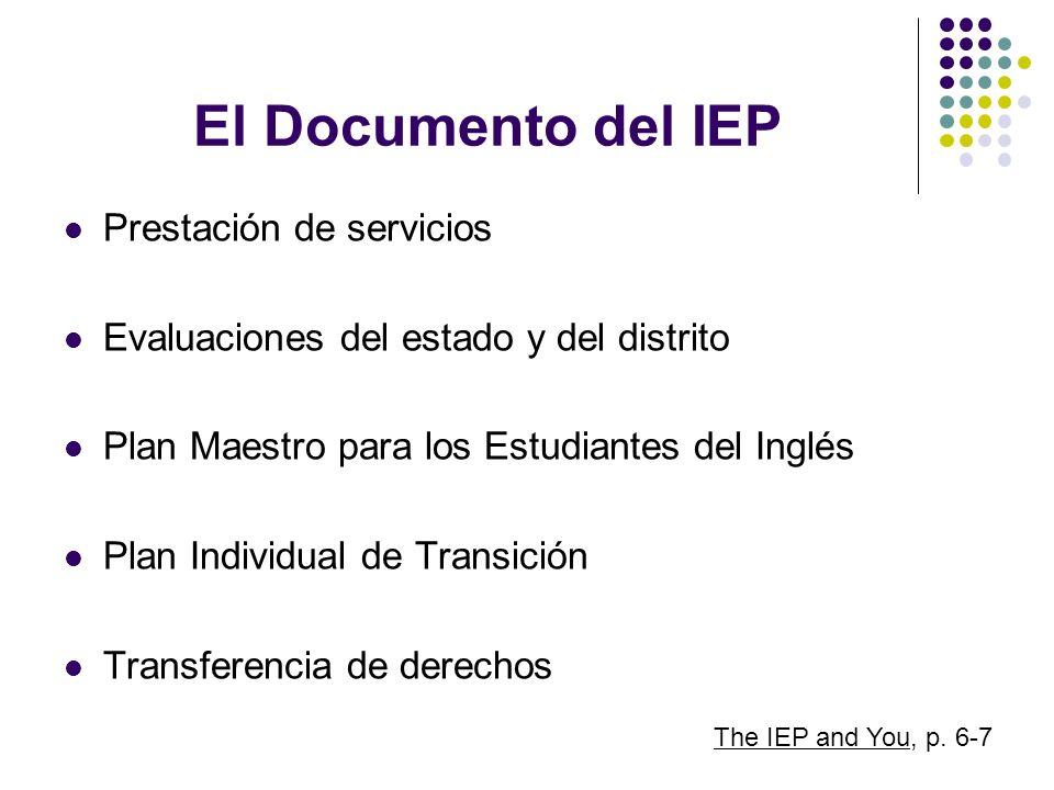 El Documento del IEP Prestación de servicios Evaluaciones del estado y del distrito Plan Maestro para los Estudiantes del Inglés Plan Individual de Tr