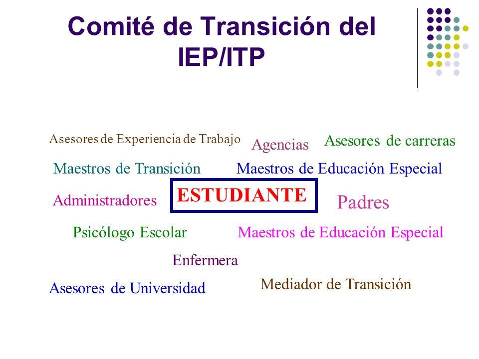 Comité de Transición del IEP/ITP Maestros de Educación Especial Mediador de Transición Padres ESTUDIANTE Administradores Psicólogo Escolar Enfermera A