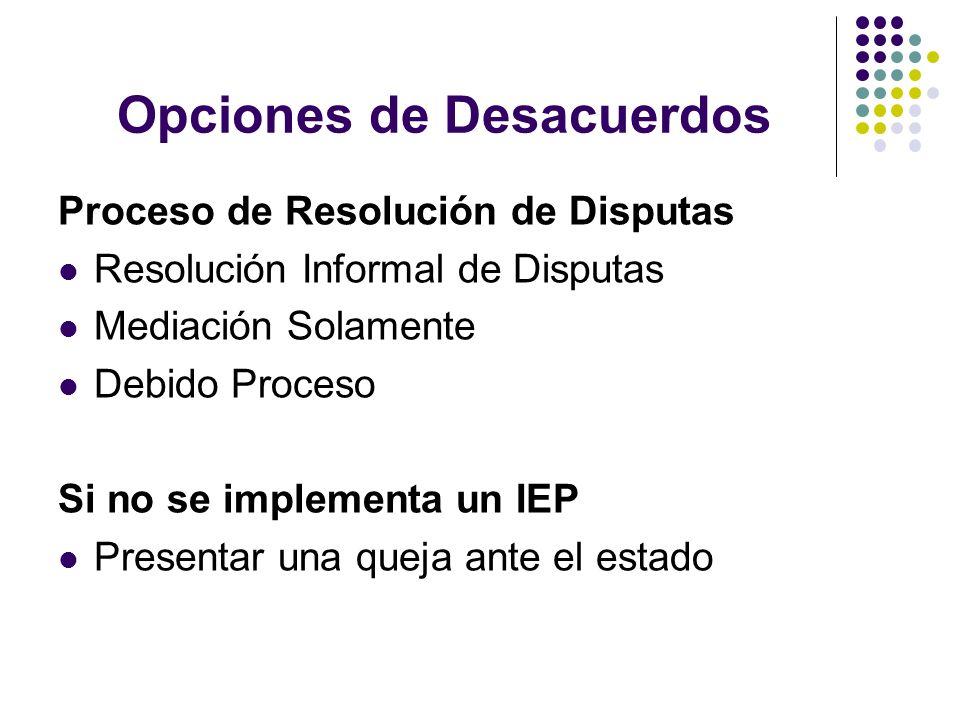 Opciones de Desacuerdos Proceso de Resolución de Disputas Resolución Informal de Disputas Mediación Solamente Debido Proceso Si no se implementa un IE